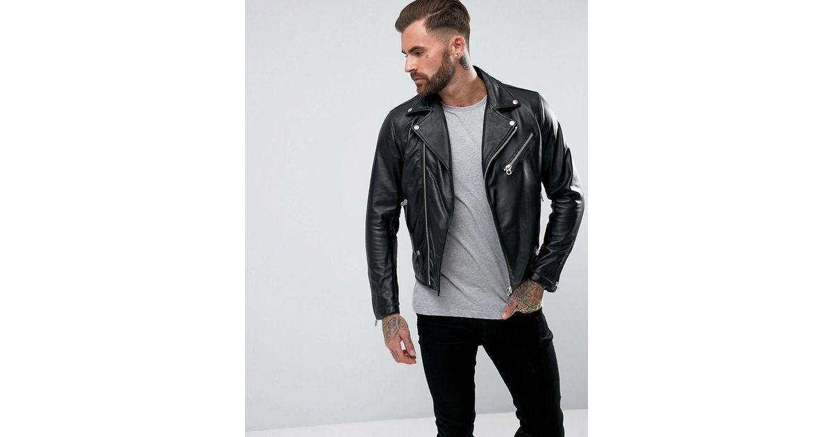 fc3205407 Replay Black Leather Biker Jacket Zip Detail for men