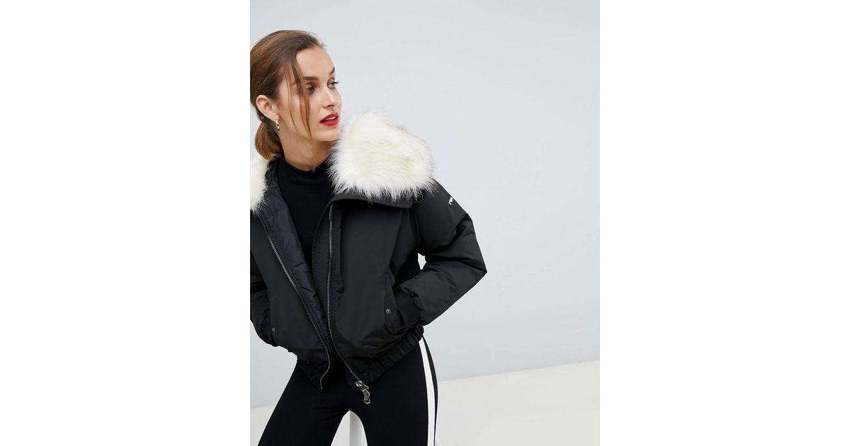 392075c0da Emporio Armani Black Cropped Padded Jacket With Faux Fur Hood