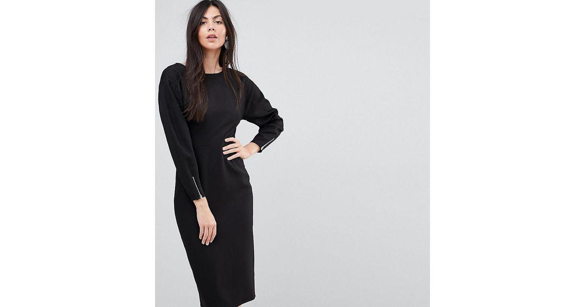 Fourreau Longue Manches Robe Black En Coloris Asos Longues Mi c5Lq4j3RA