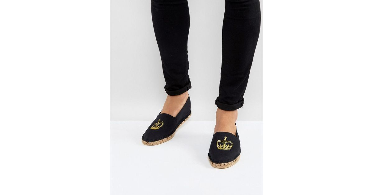 DESIGN Espadrilles In Black Canvas With Crown Embroidery - Black Asos From China Low Shipping Fee Cheap Sale Professional Buy Cheap Wide Range Of Huge Range Of Free Shipping Supply t1w9rbPfoE