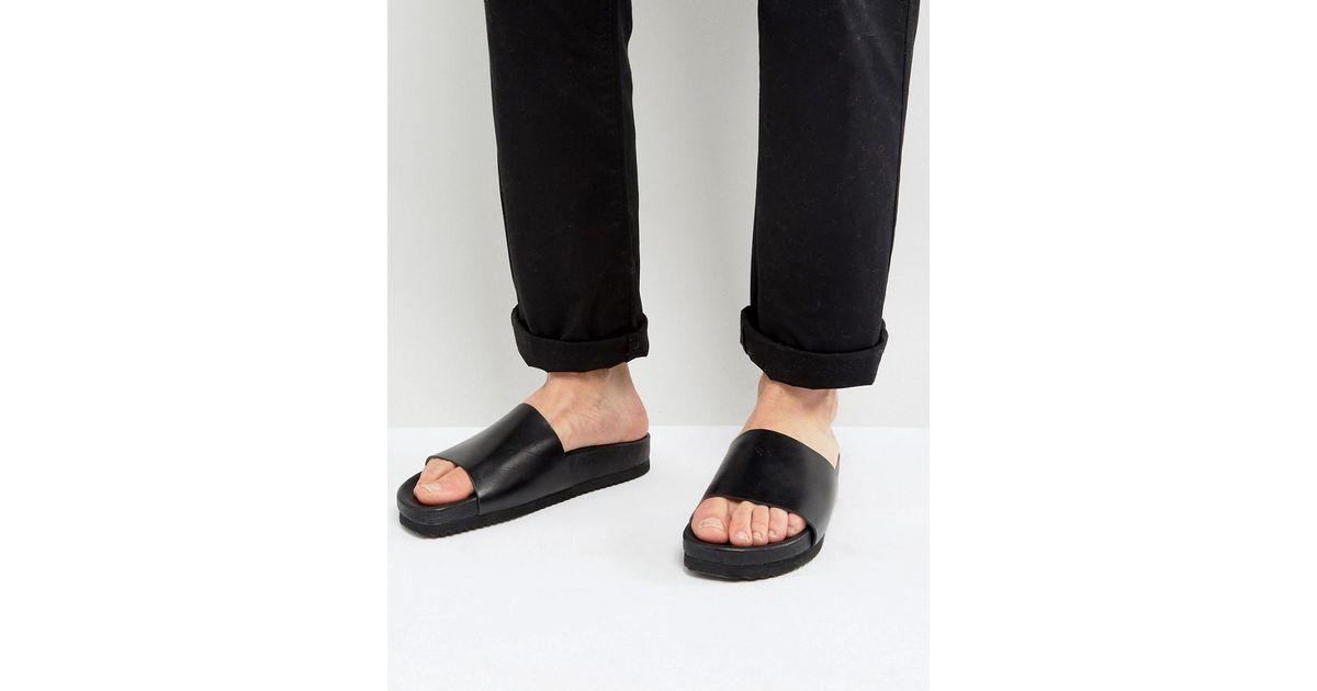e607b8464 Lyst - SELECTED Austin Leather Sliders in Black for Men