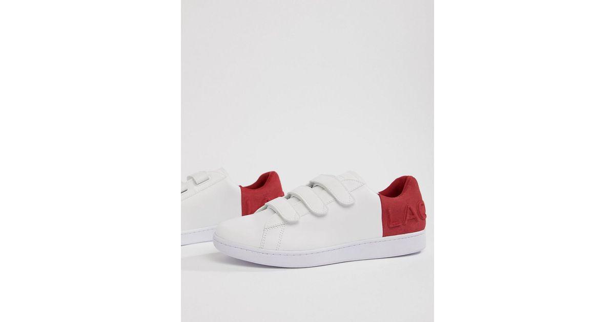 sprawdzić całkiem tania nowe promocje Lacoste Carnaby Evo Strap 318 1 Trainers In White With Red for men
