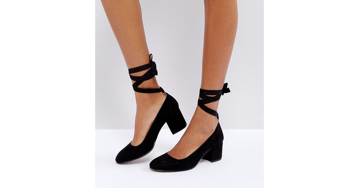 on wholesale huge inventory good selling London Rebel Black Wide Fit Tie Ankle Kitten Heel Shoe