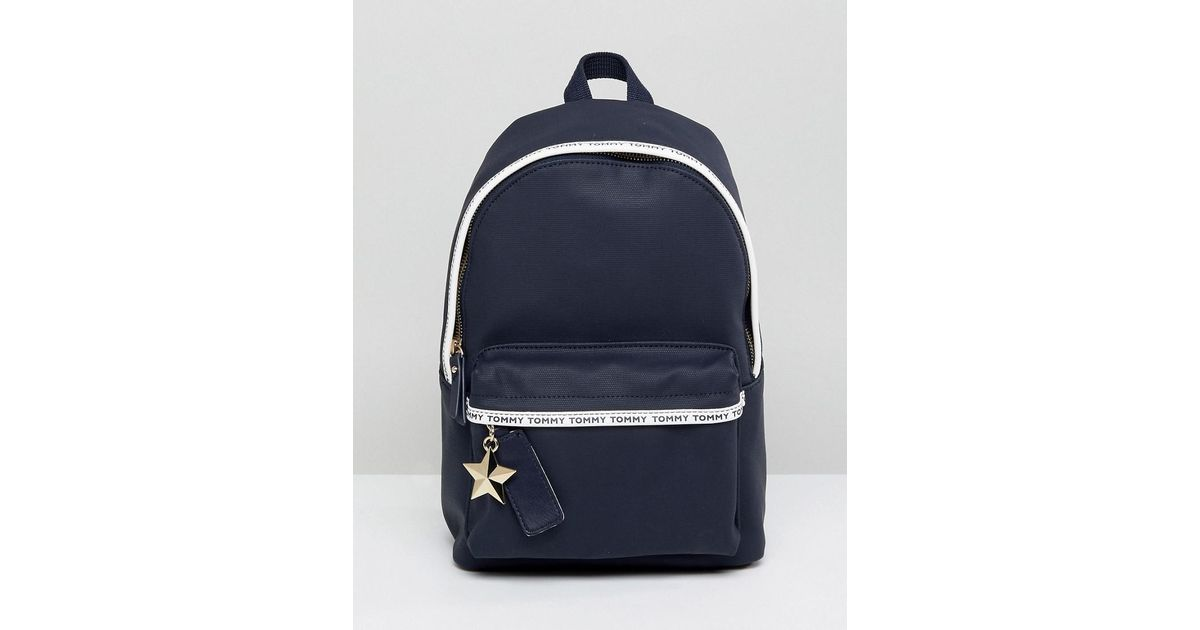 6939bb65 Tommy Hilfiger Logo Tape Mini Backpack in Blue - Lyst
