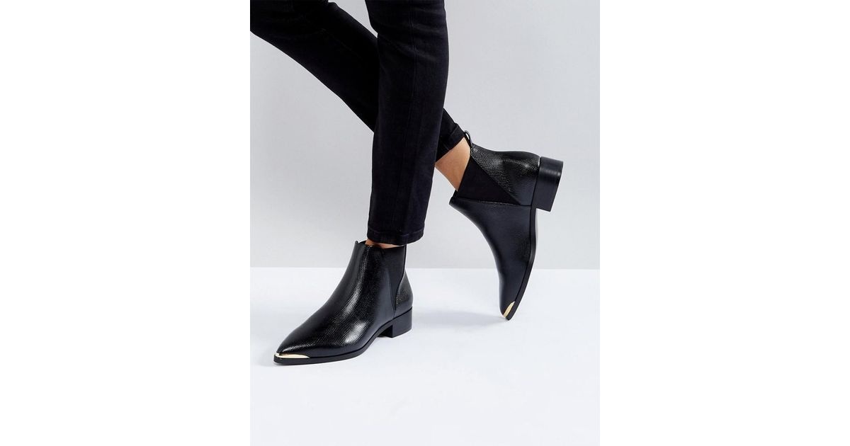 Flat Pointed Ankle Boot With Metal Trim