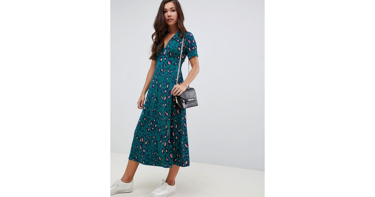 Lyst - ASOS Forest Green Animal Print Midi Tea Dress in Green 5fb0176b1