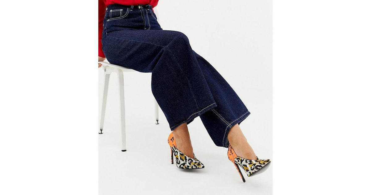 f71dfd62cf9 ASOS Multicolor Wide Fit Putty Pointed High Heeled Pumps In Leopard Floral  Print