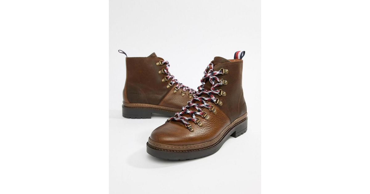 d69c5ab4a00499 Lyst - Tommy Hilfiger Leather Outdoor Hiking Boot In Brown in Brown for Men