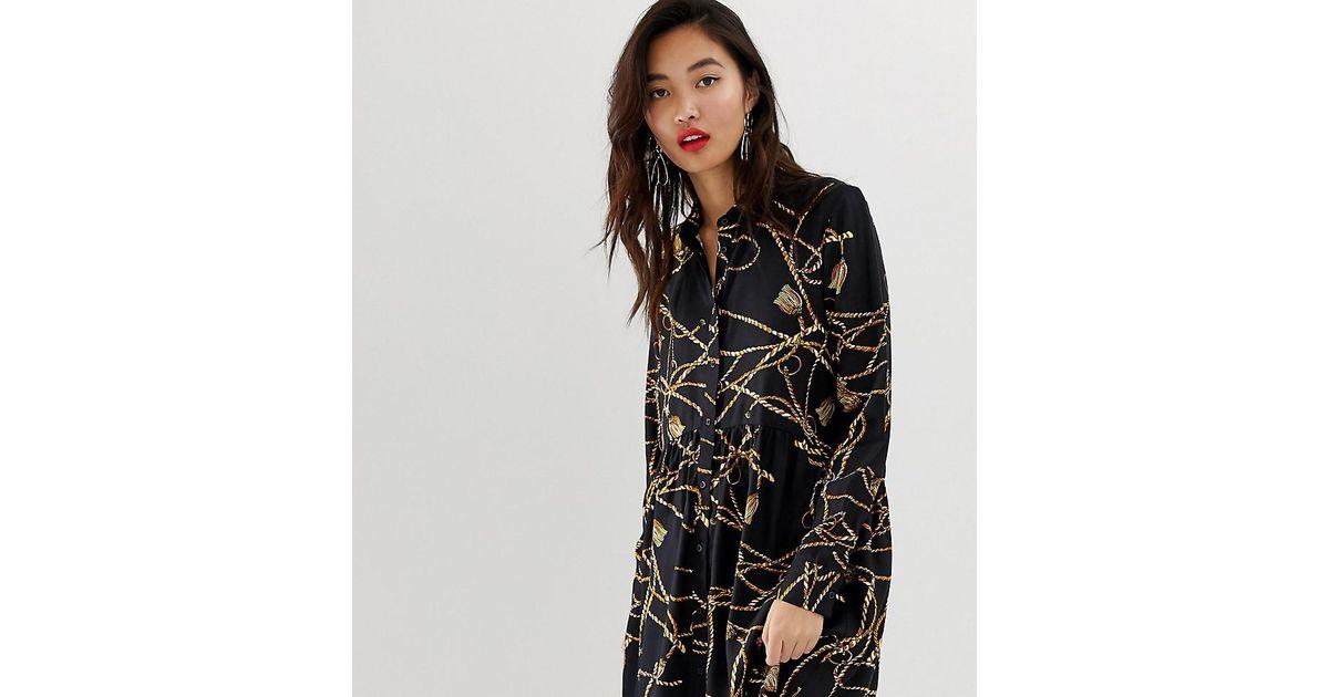 14082b92d8c Lyst - Stradivarius Shirt Dress In Chain Print in Black