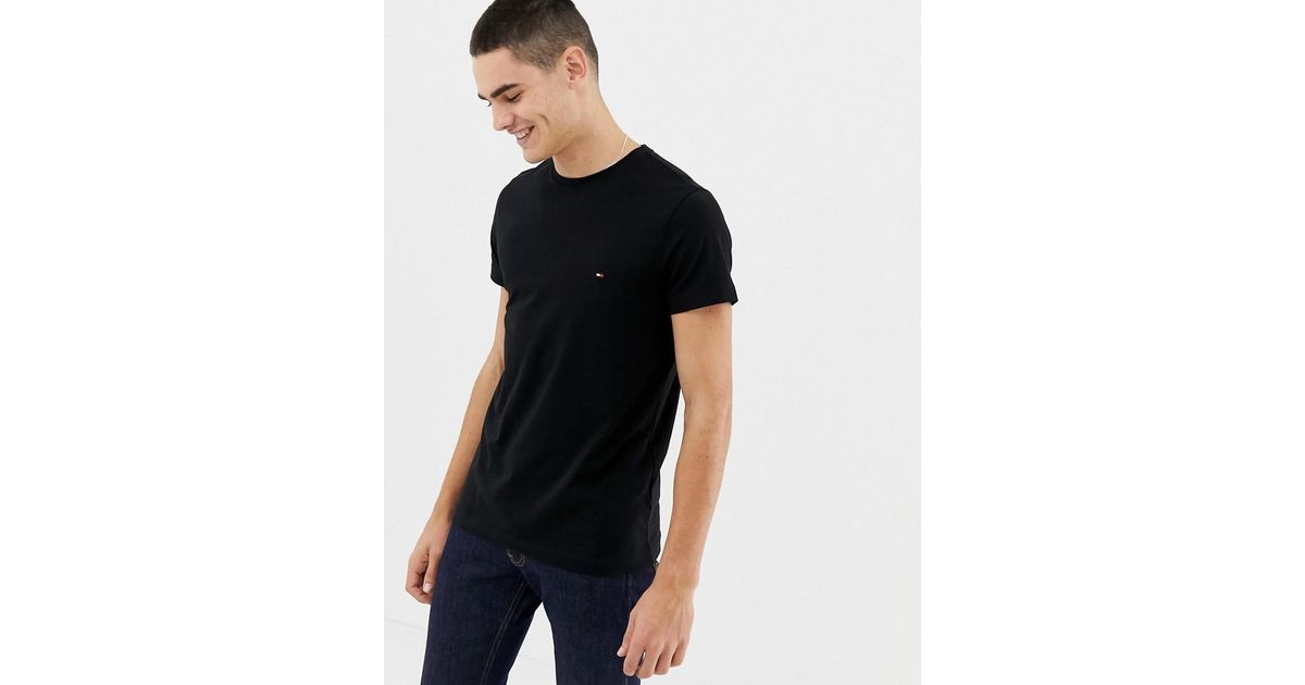 3ad29f827 Tommy Hilfiger T-shirt With Flag Logo In Stretch Slim Fit In Black in Black  for Men - Lyst