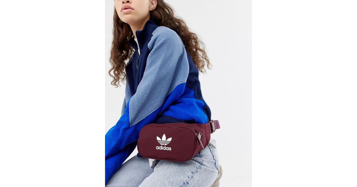 Lyst - adidas Originals Trefoil Bumbag In Burgundy in Red 6c1f7702cff9a