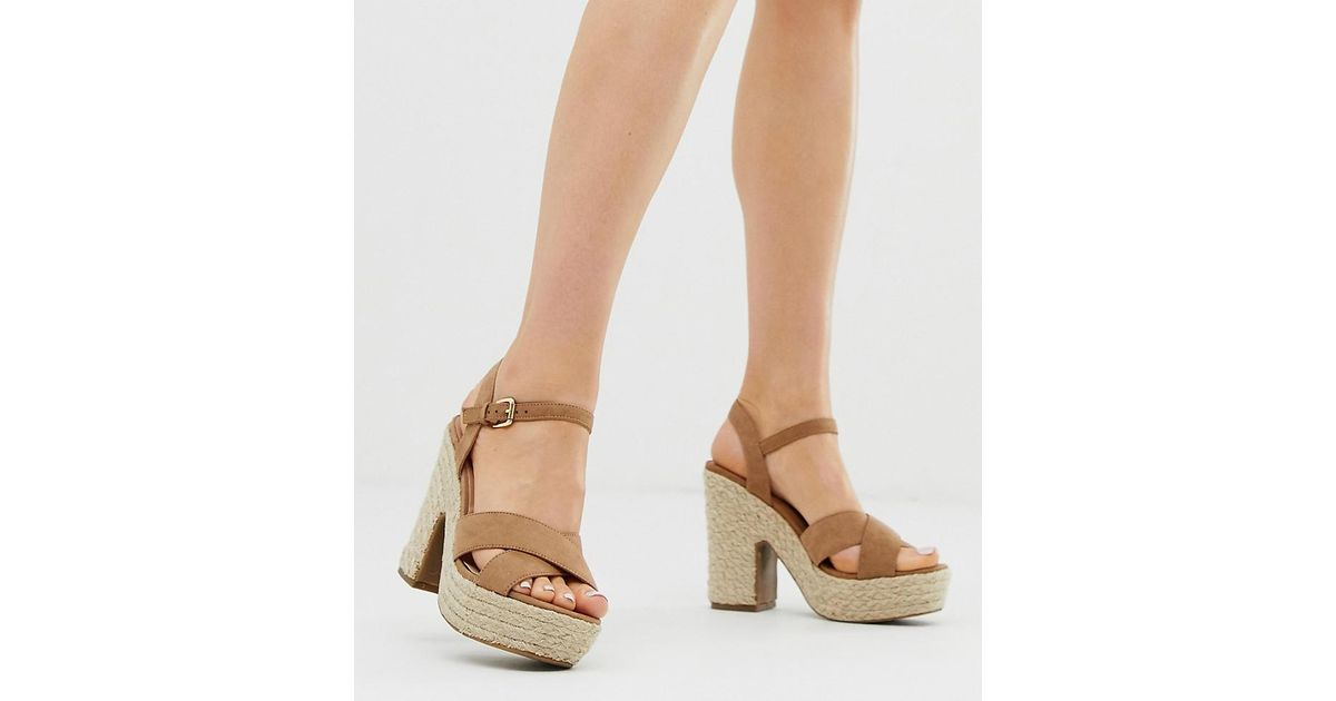 a05dfc4cd33 New Look - Brown Espadrille Heeled Sandal In Tan - Lyst