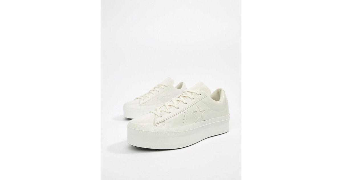converse one star platform ox vintage white trainers