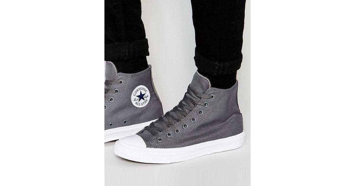 Chuck Taylor All Star II Hi-Top Plimsolls In Grey 150147C - Grey Converse NB1bjmk