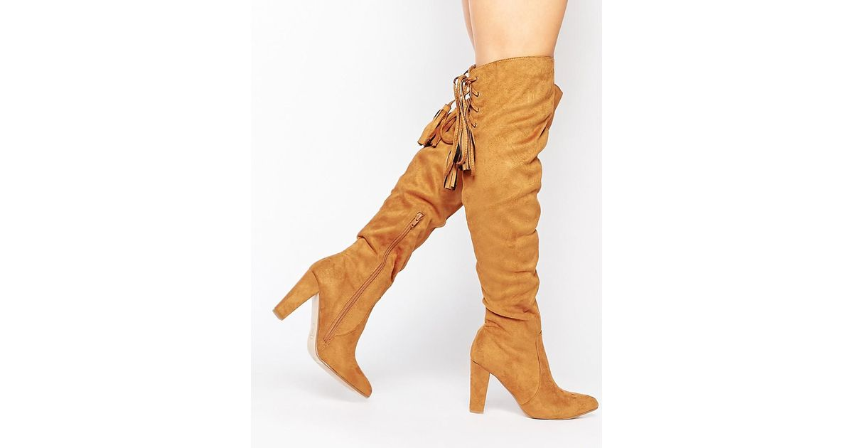 19d11a511758 Missguided Heeled Over The Knee Boot With Lace Up Back in Brown - Lyst