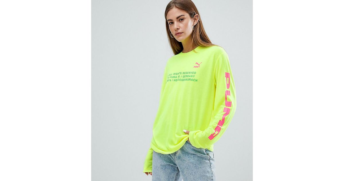a6fe0cc9 PUMA Exclusive To Asos Long Sleeve T-shirt With Techno Logo In Neon Yellow  in Yellow - Lyst