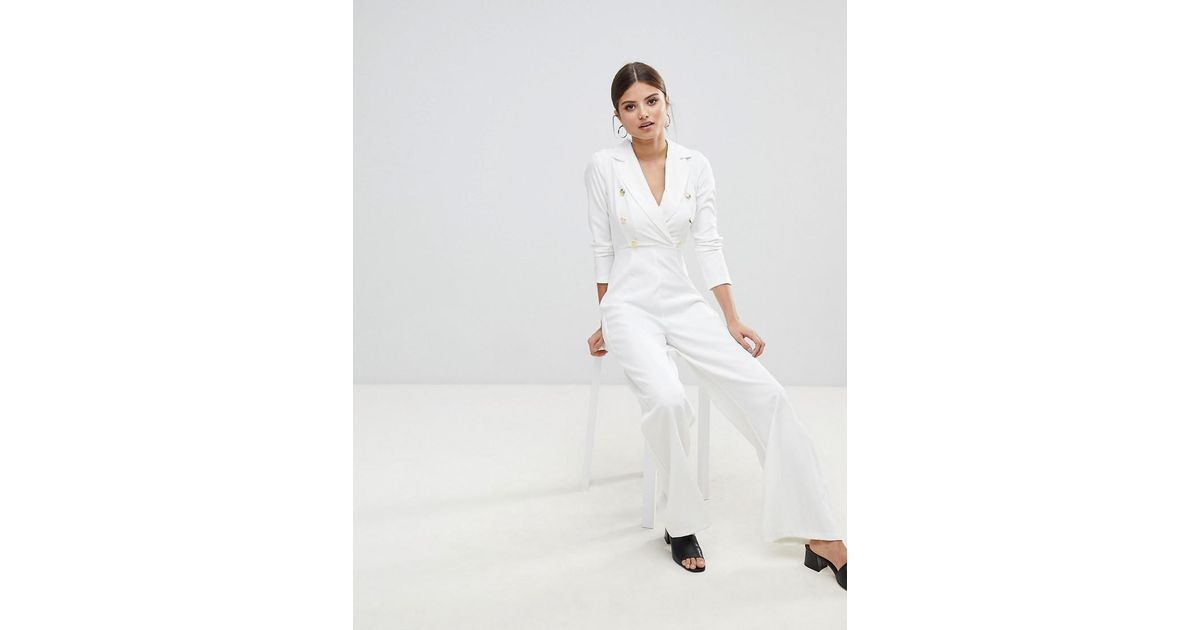 Missguided Gold Button Jumpsuit In White Lyst