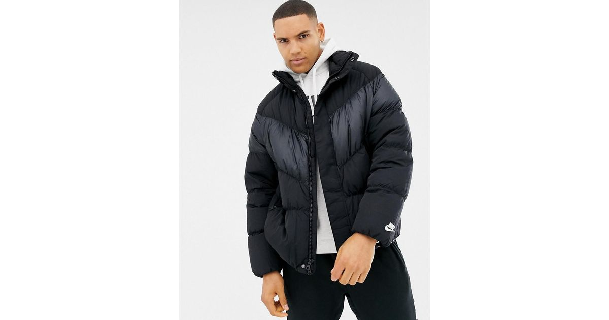 nike down chevron panel jacket in black