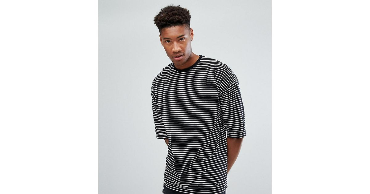 699e0b0727 ASOS Tall Oversized Stripe T-shirt With Distressing in Black for Men - Lyst