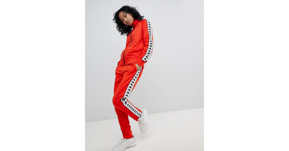 d9975e8e Kappa Red Slim Tracksuit Bottom Co-ord With Logo Taping