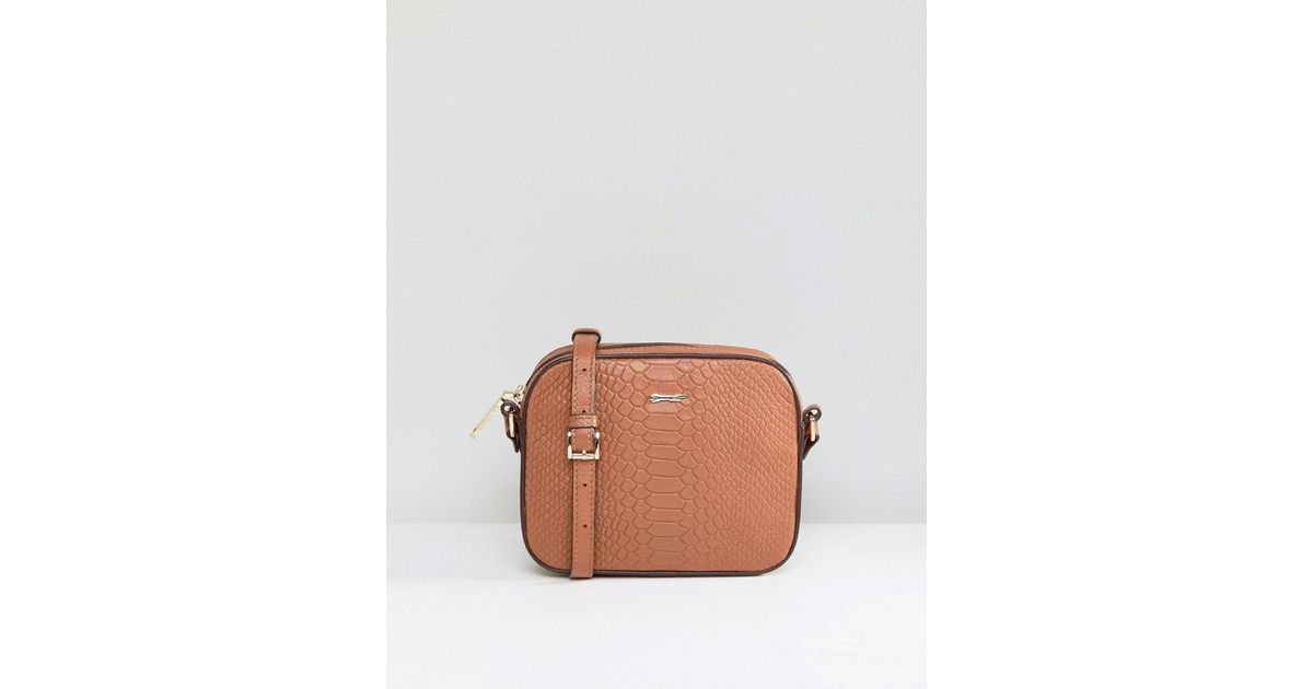 854787bfb871 Paul Costelloe Real Leather Double Clasp Zip Around Boxy Cross Body Bag In  Tan in Brown - Lyst