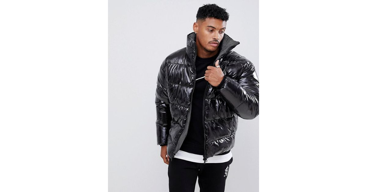 bf08e89c0 ASOS Black Puffer Jacket In High Shine Fabric With Check Lining for men