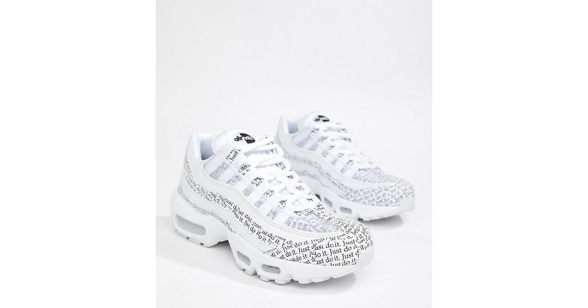 new products 8652d eeb4d Nike Just Do It White And Black Newspaper Print Air Max 95 Se Trainers