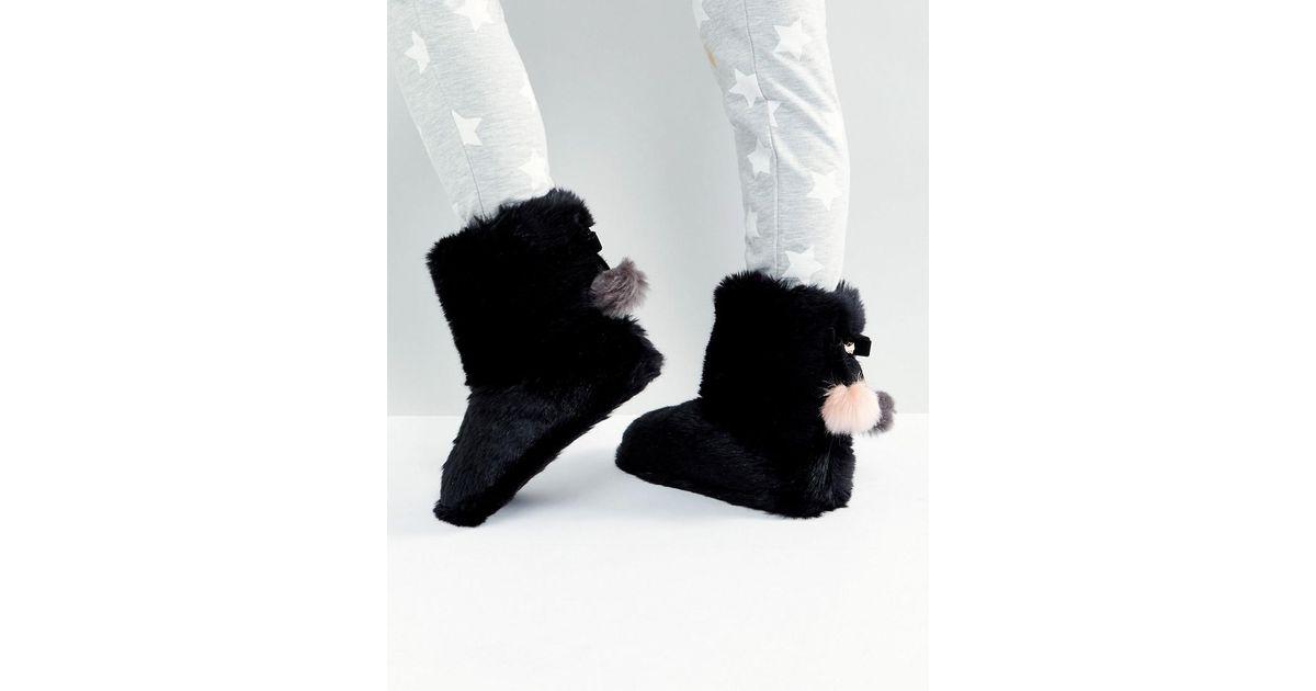 cc0ea5389 Ted Baker Hamond Faux Fur Bootie Slippers in Black - Lyst