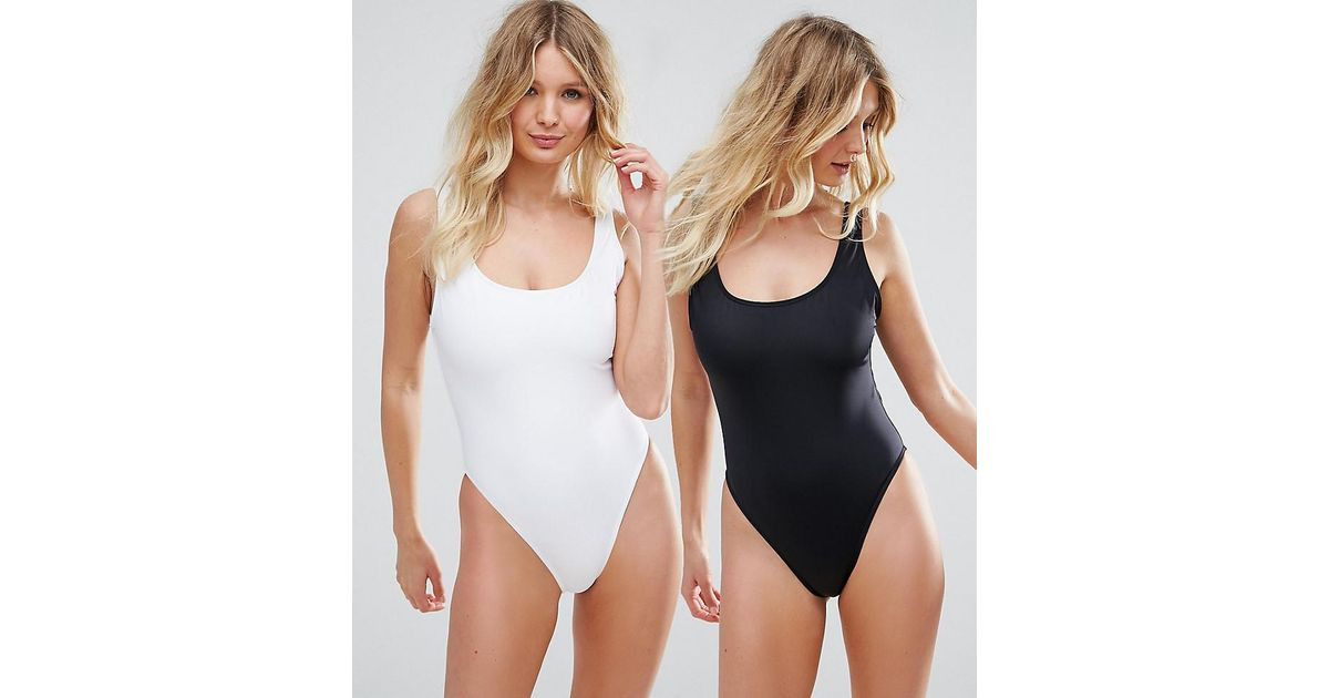 f26caf4358a8 ASOS Fuller Bust Supportive Scoop Front Swimsuit Multipack - Lyst