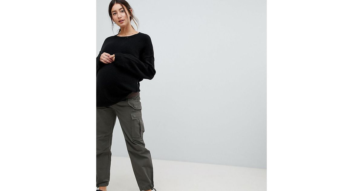 72121ba33 ASOS Asos Design Maternity Cargo Pants In Khaki With Under The Bump  Waistband in Green - Lyst