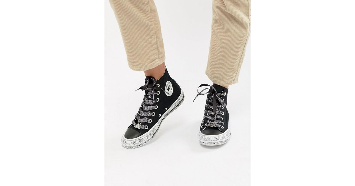 558e462a862 Converse X Miley Cyrus Chuck Taylor All Star Hi Trainers In Black And White  Bandana in Black - Lyst