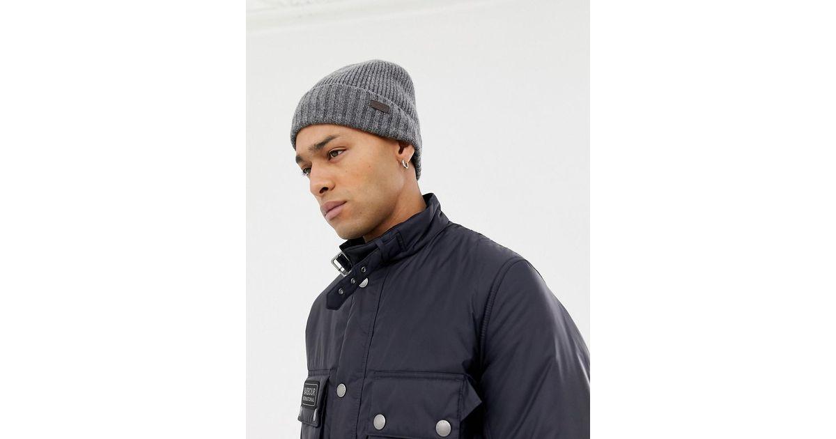 bb2c7a2539d5e Barbour Carlton Fleece Lined Beanie Hat In Grey in Gray for Men - Lyst