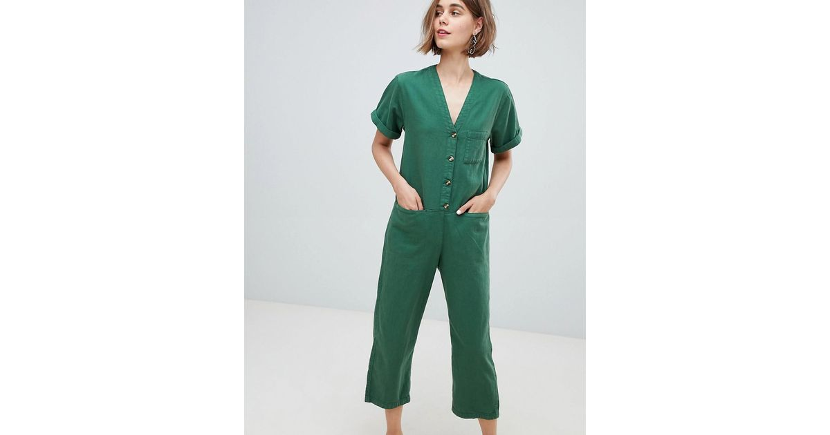 7584899e173 Monki Denim V Button Front Jumpsuit in Green - Lyst