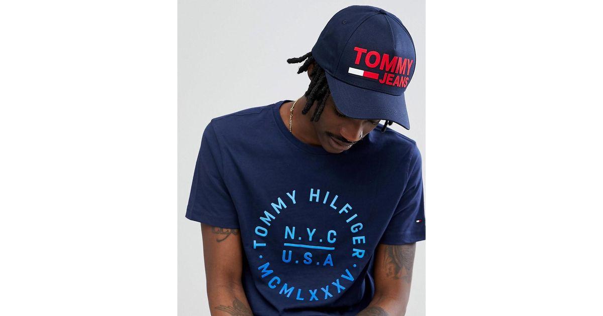 13544d5c616ff Lyst - Tommy Hilfiger Flock Flag Logo Baseball Cap In Navy in Blue for Men