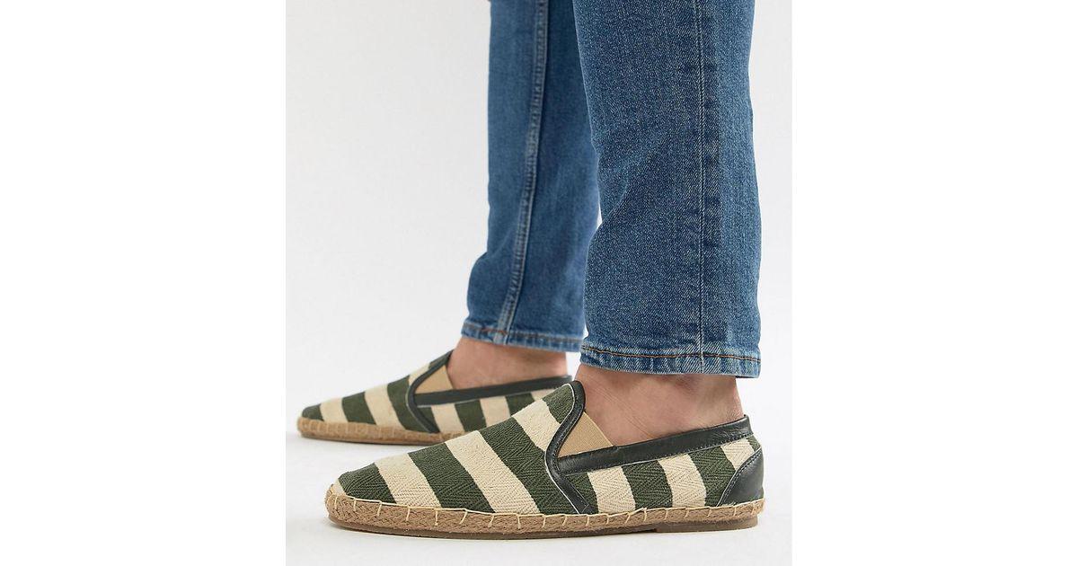 Wide Fit Stripe Espadrilles In Khaki - Green Frank Wright zLWZZPvXA5