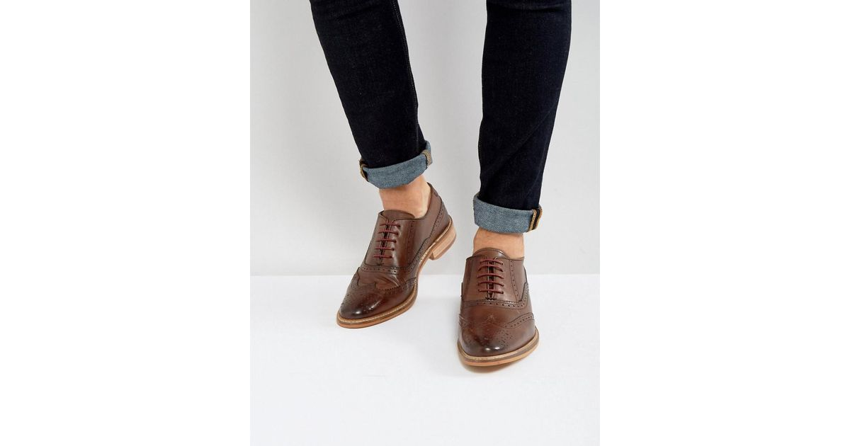 DESIGN brogue shoes in brown leather with natural sole - Brown Asos TarO5Ws