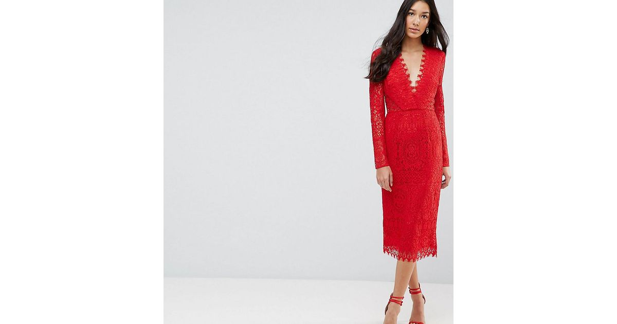 Lyst - Asos Long Sleeve Lace Midi Pencil Dress in Red