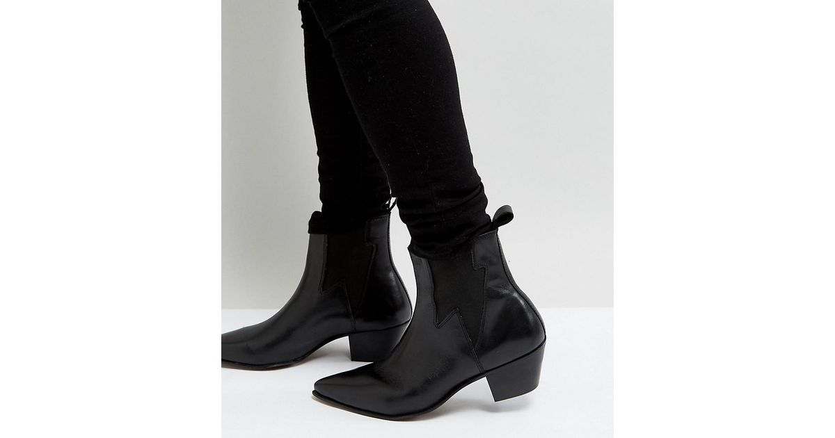 4c3d7d6282b ASOS Wide Fit Stacked Heel Western Boots In Black Leather With Lightning  Detail in Black for Men - Lyst