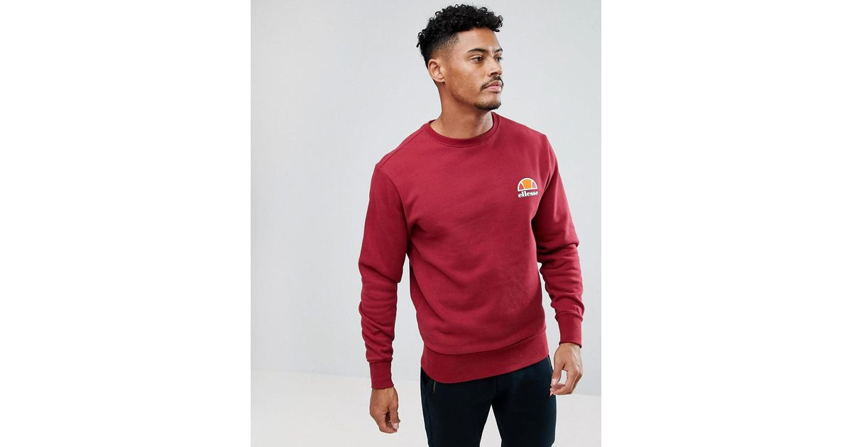 5c120056 Ellesse - Red Sweatshirt With Small Logo In Burgundy for Men - Lyst