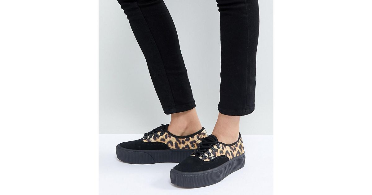 Vans Black Authentic Platform Trainers In Leopard Print