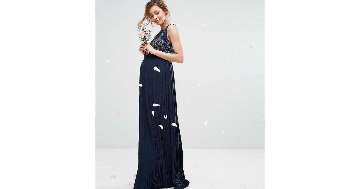 21b248f29a6 Lyst - Maya Maternity Embellished Bodice Maxi Dress With Pleated Skirt in  Blue