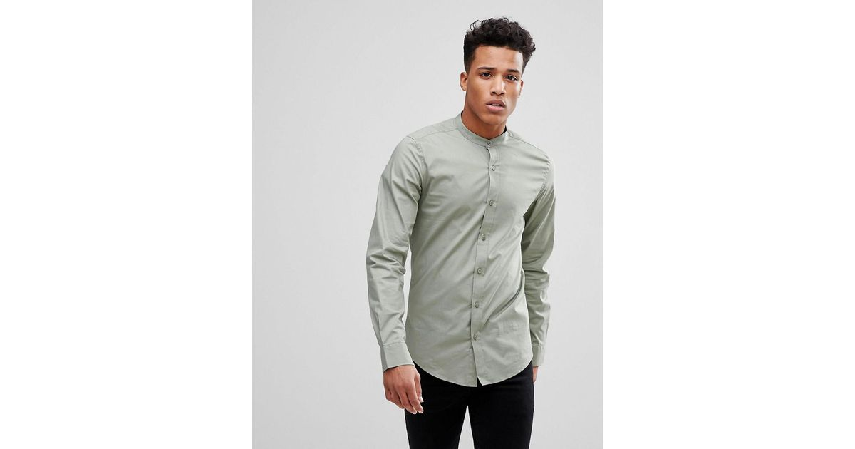 157ecf8f676e Only & Sons Slim Fit Poplin Shirt With Grandad Collar in Green for Men -  Lyst