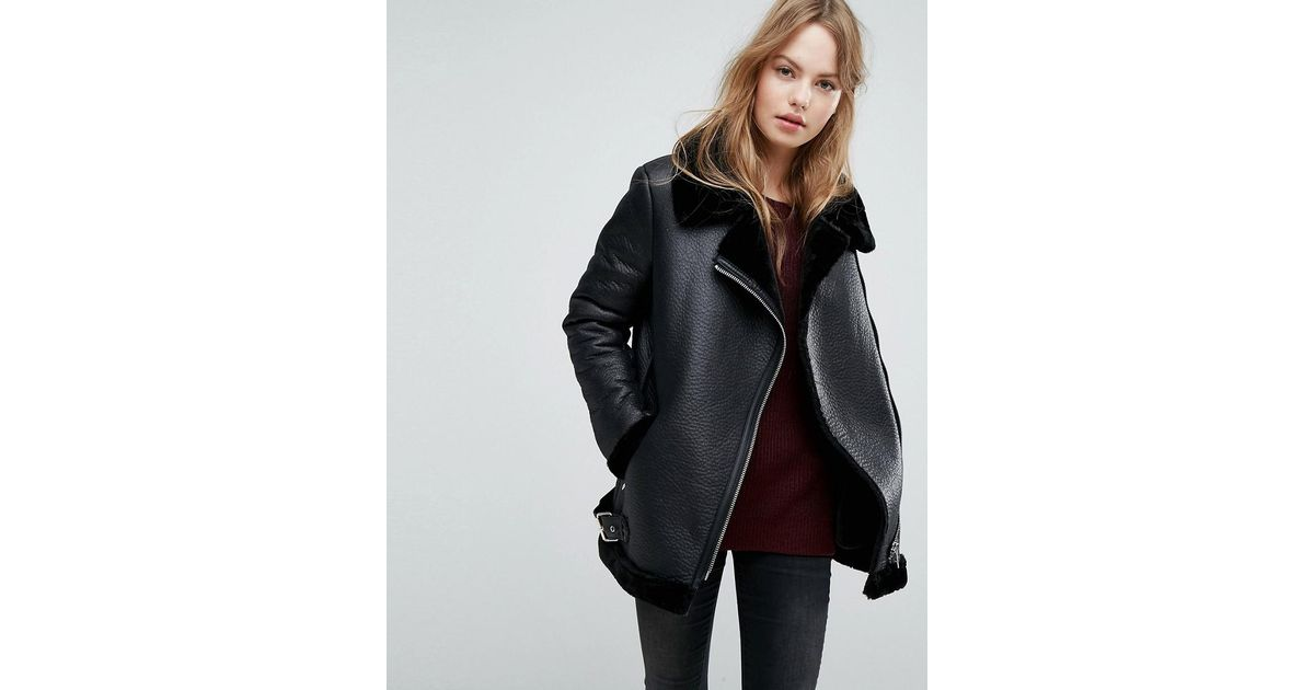 034caa78ce7aa New Look Faux Shearling Suedette Aviator Jacket in Black - Lyst