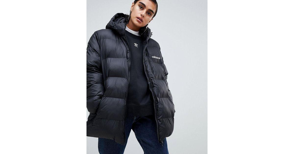 4fafeb731 Adidas Originals Black Originals Oversized Padded Jacket With Hood