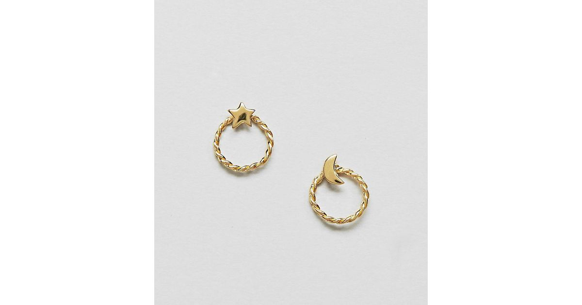b98e7673b84f0 ASOS Metallic Gold Plated Sterling Silver Moon And Star Hoop Stud Earrings