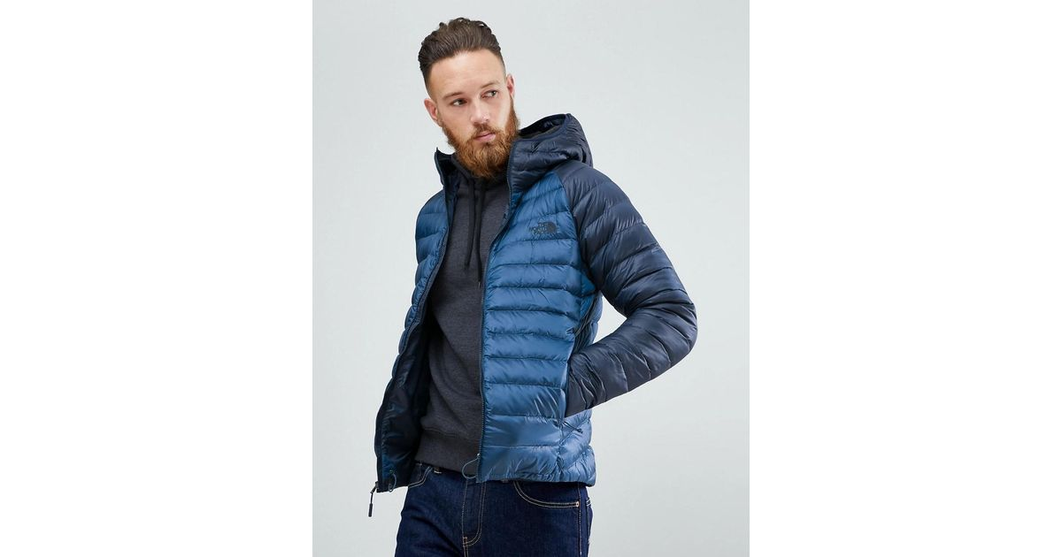 f20e187db4f7 Lyst - The North Face Trevail Hooded Lightweight Down Jacket In 2 Tone Blue  in Blue for Men