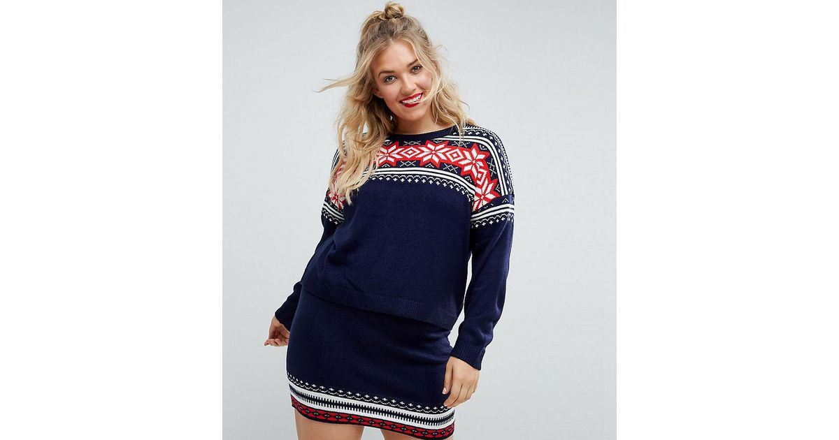 Lyst - Asos Christmas Co-ord Jumper In Fairisle in Blue