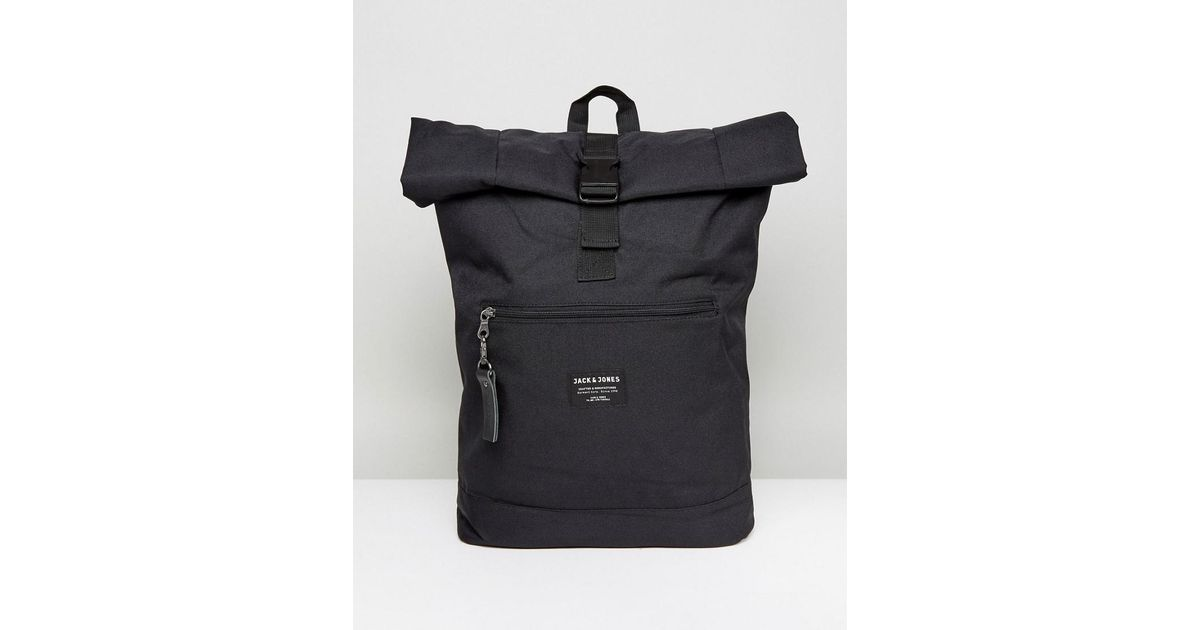 ed5d4ffe45342 Jack   Jones Backpack With Roll Top in Black for Men - Lyst