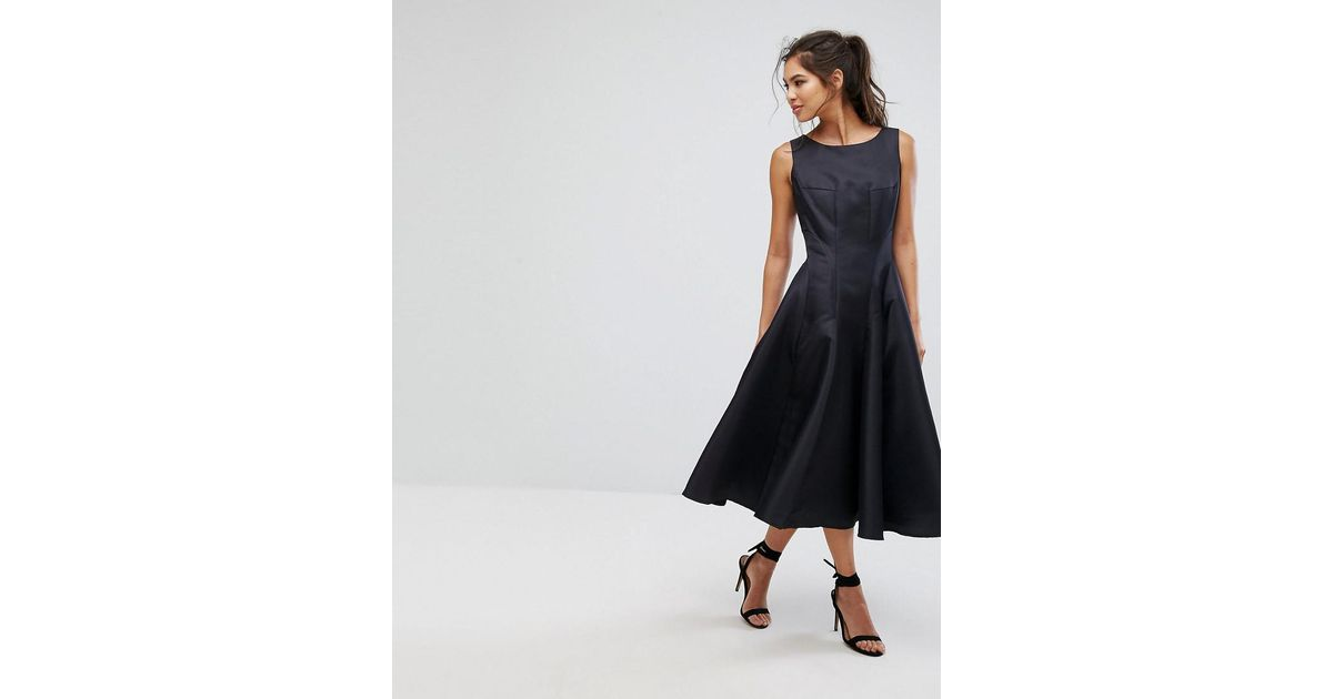 Lyst Chi Chi London Fit And Flare Midi Dress With Seam Detail In Black