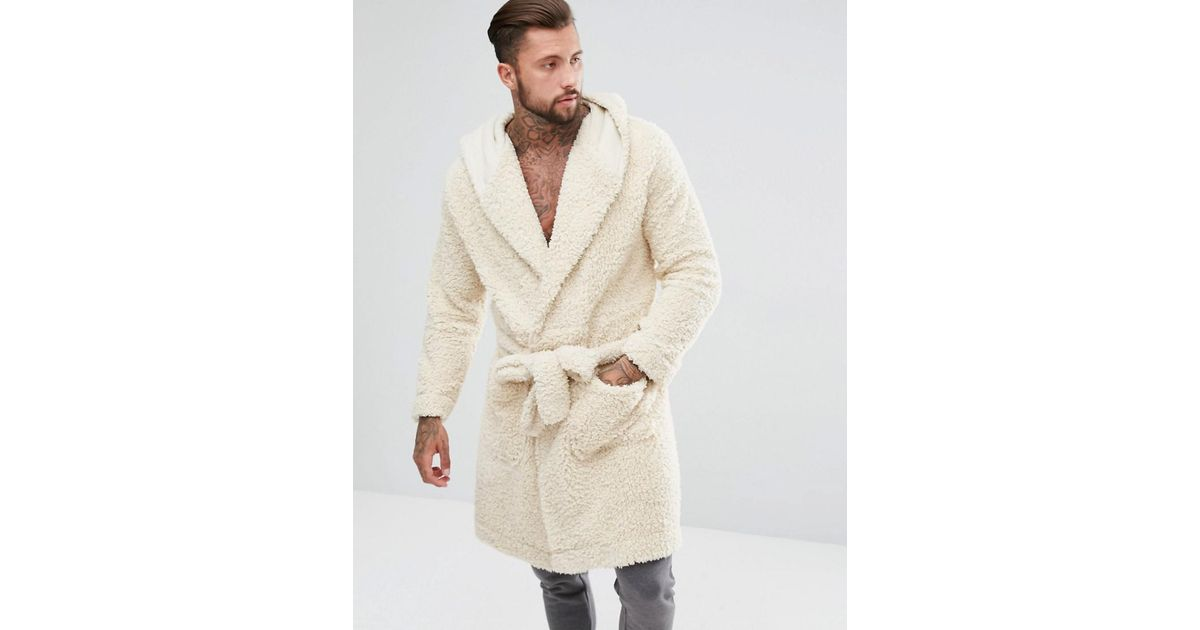 Asos Hooded Dressing Gown In Borg in Natural for Men - Lyst